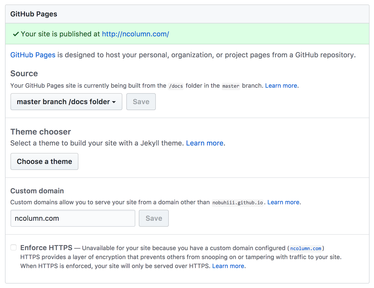 GitHub Pagesの設定画面_02
