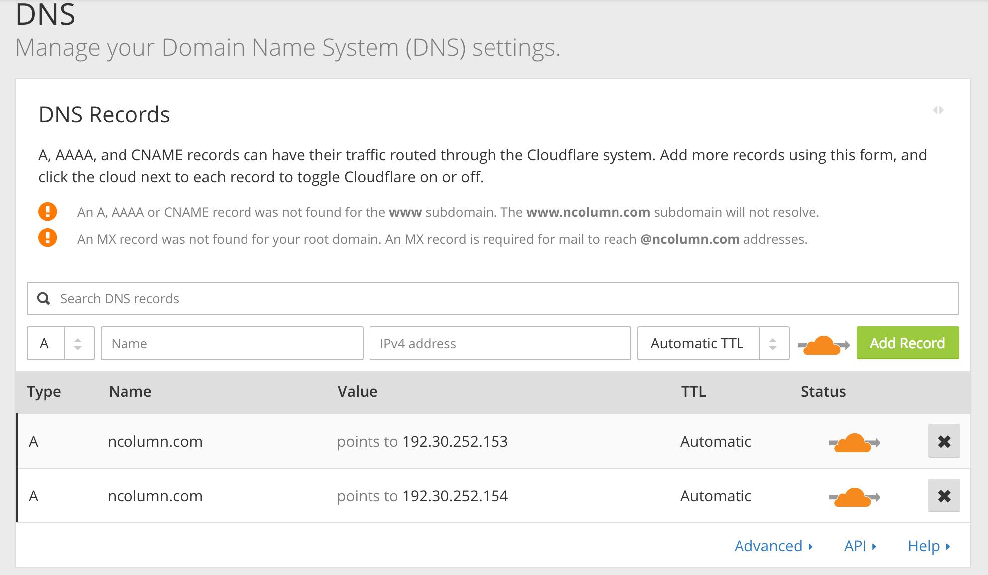 CloudFlareのDNS設定画面